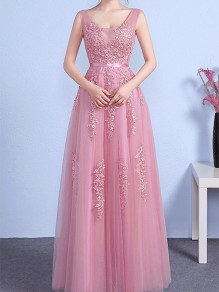 Pink Beading Floral Print Draped V-neck Backless Sleeveless Elegant Maxi Dress