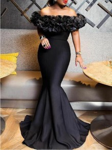 Black Patchwork Ruffle Off Shoulder Backless Mermaid Prom Banquet Party Maxi Dress