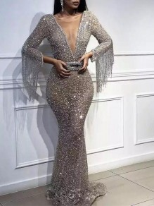 Silver Sequin Fashion One Piece Cocktail Party Maxi Dress