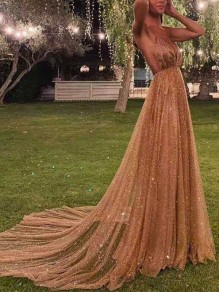 Champagne Sequin Fashion One Piece Cocktail Party Maxi Dress