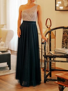 Dark Green Patchwork Grenadine Bow Asymmetric Shoulder Backless Bridesmaid Prom Party Maxi Dress