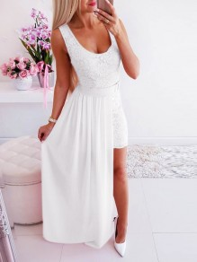 White Patchwork Lace Irregular 2-in-1 Sleeveless Party Maxi Dress