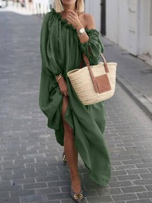 Green One Off Shoulder Pleated Bohemian Beachwear Maxi Dress