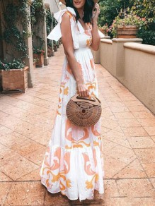 White Floral Print Bow Backless Pleated Others Sleeveless Fashion Bohemian Maxi Dress
