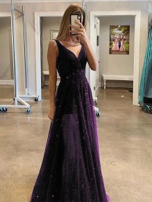 Purple Galaxy Print Grenadine V-neck Sleeveless Elegant Maxi Dress