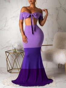 Maxi dress bandeau off shoulder sirena festa per banchetti viola