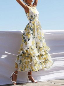 White Lemon Print Cascading Ruffle Pleated Bohemian Beachwear Maxi Dress