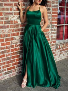 Green Tie Back Side Slit Draped Big Swing Satin Backless Fashion Elegant Prom Maxi Dress