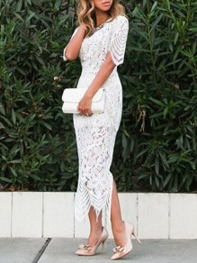 White Patchwork Lace Slit Side Wedding Gowns Party Maxi Dress