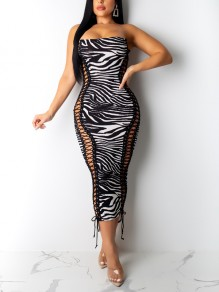 White Zebra Pattern Lace-up Off Shoulder Bodycon Party Clubwear Maxi Dress