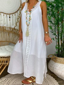 White Patchwork Lace V-neck Sleeveless Going out Maxi Dress