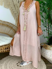 Pink Patchwork Lace V-neck Sleeveless Going out Maxi Dress