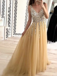 Apricot Patchwork Grenadine Sequin Tulle Draped Backless V-neck Elegant Party Prom Maxi Dress