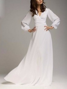 White Chiffon V-neck Draped Lantern Sleeve Elegant Maxi Dresses