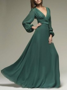 Green Chiffon Draped Flowy Deep V-neck Lantern Sleeve Elegant Evening Party Prom Maxi Dress