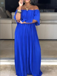 Royal Blue Pleated Ruffle Off Shoulder Backless Ruched Flowy Beach Party Bohemian Maxi Dress