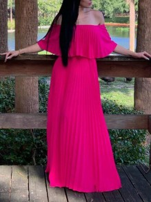 Rose Carmine Pleated Ruffle Off Shoulder Backless Ruched Flowy Beach Party Bohemian Maxi Dress
