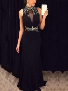 Black Patchwork Grenadine Pearl Rhinestone Cut Out Bodycon Mermaid Prom Evening Party Maxi Dress