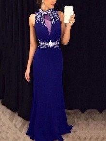 Blue Patchwork Grenadine Pearl Rhinestone Cut Out Bodycon Mermaid Prom Evening Party Maxi Dress