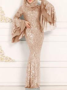 Golden Patchwork Sequin Bodycon Mermaid Bell Sleeve Sparkly Glitter Prom Evening Party Muslim Maxi Dress