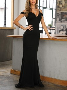 Black Backless Fishtail Off Shoulder Bodycon Spaghetti Strap Going out Maxi Dress