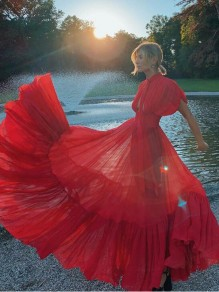 Red Pleated Cut Out High Waisted Bohemian Flowy Banquet Party Maxi Dress