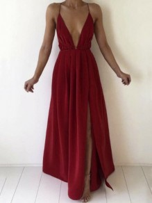 Red Pleated Spaghetti Strap V-neck Backless Thigh High Side Slits Bohemian Beachwear Maxi Dress