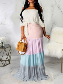 White Rainbow Striped Off Schultergurt Plissee Bohemian Beach Maxi-Kleid