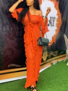 Orange Ruffle Sashes One-Shoulder 3/4 Sleeve Flowy Banquet Party Maxi Dress