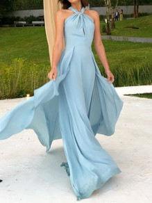 Light Blue Draped Flowy Halter Neck Backless Slit Fashion Elegant Banquet Prom Maxi Dress