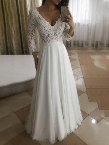 White Patchwork Lace Big Swing V-neck Long Sleeve Elegant Wedding Prom Maxi Dress