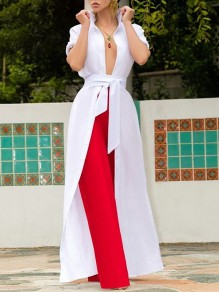 White Belt Single Breasted V-neck Short Sleeve Fashion Casual Cover Up Maxi Dress