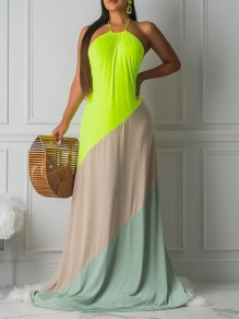 Maxi dress scollo avorio color block con scollo A barchetta bohémien verde neon