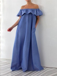 Dark Blue Ruffle Off Shoulder Backless Pockets Plus Size Casual Maxi Dress