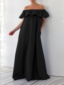 Black Ruffle Off Shoulder Backless Pockets Plus Size Casual Beach Maxi Dress