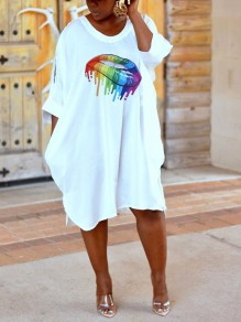 White Rainbow Striped Lips Cut Out Casual Maxi Dress