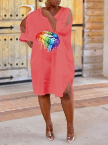 Red Rainbow Striped Lips Cut Out Casual Maxi Dress