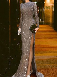 Silver Patchwork Sequin Thigh High Side Slits Bodycon Mermaid Sparkly Glitter Birthday Prom Evening Party Maxi Dress