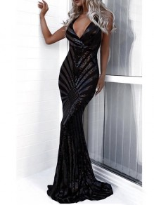 Black Sequin Spaghetti Strap Cross Back Backless V-neck Mermaid Party Prom Maxi Dress
