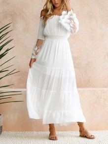 White Lace Cut Out Ruffle Boat Neck Elegant Maxi Dresses
