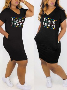 "Black ""BLACK SMART"" Print Pockets Casual Maxi Dress"