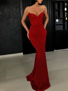 Red Patchwork Sequin Spaghetti Strap Bodycon Mermaid V-neck Sparkly Glitter Birthday Prom Evening Party Maxi Dress