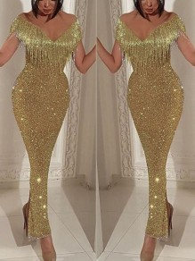 Golden Patchwork Sequin Tassel Off Shoulder Bodycon Mermaid V-neck Sparkly Glitter Birthday Prom Evening Party Maxi Dress