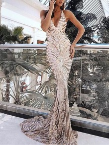 Apricot Patchwork Sequin Halter Neck Bodycon Backless Mermaid Sparkly Glitter Banquet Birthday Prom Party Maxi Dress
