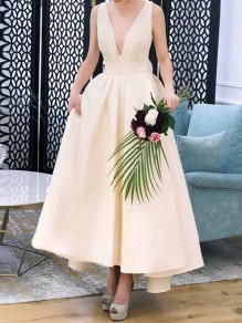 Apricot Pleated Bow Pockets Deep V-neck Backless High-Low Tutu Elegant Cocktail Prom Evening Party Maxi Dress