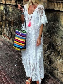 White Patchwork Lace Round Neck Plus Size Bohemian Beach Boho Maxi Dress
