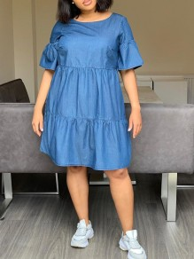 Blue Pleated Denim Round Neck Cute Homecoming Party Maxi Dress