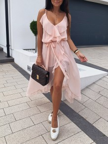 Pink Patchwork Cascading Ruffle Drawstring Irregular Side Slit Lace-up Chiffon Cute Maxi Dress
