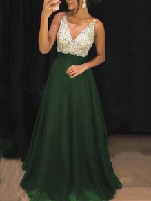 Green Patchwork Sequin Pleated V-neck Sparkly Glitter Birthday Prom Evening Party Maxi Dress