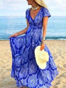 Blue Floral Plissee V-Ausschnitt Bohemian Beach Maxi Dress
